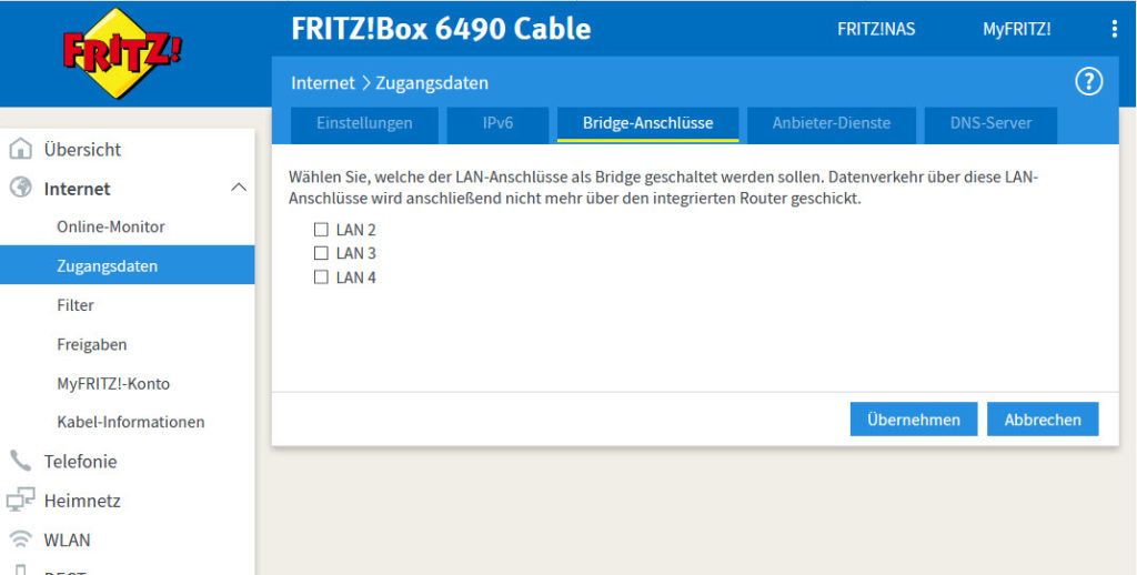 fritzbox 6490 im bridge modus fritz os kr g 39 s blog. Black Bedroom Furniture Sets. Home Design Ideas